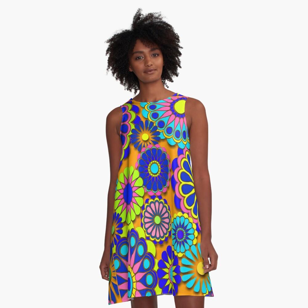 Flower Power Retro Style Hippy Flowers A-Line Dress