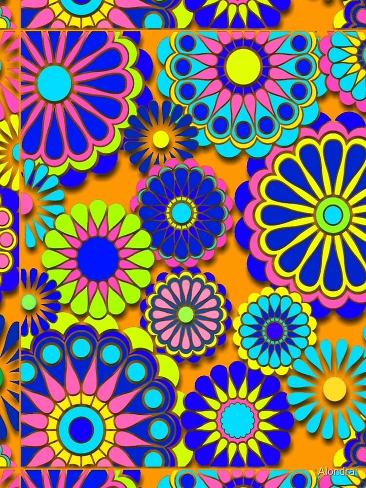 Flower Power Retro Style Hippy Flowers by Alondra