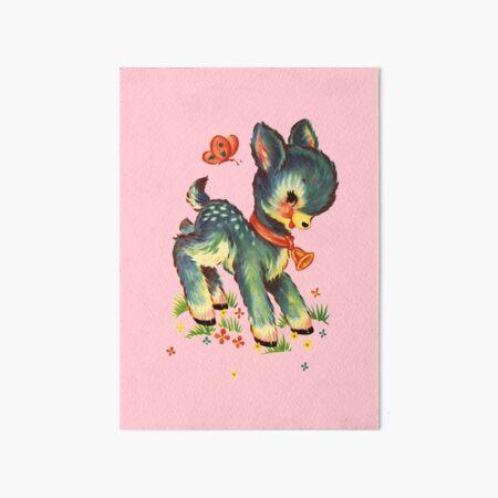 Kitsch Deer - Pink Art Board Print