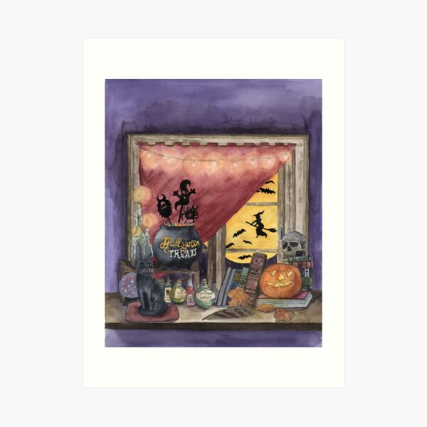 The night before Halloween. House of the witch. Art Print