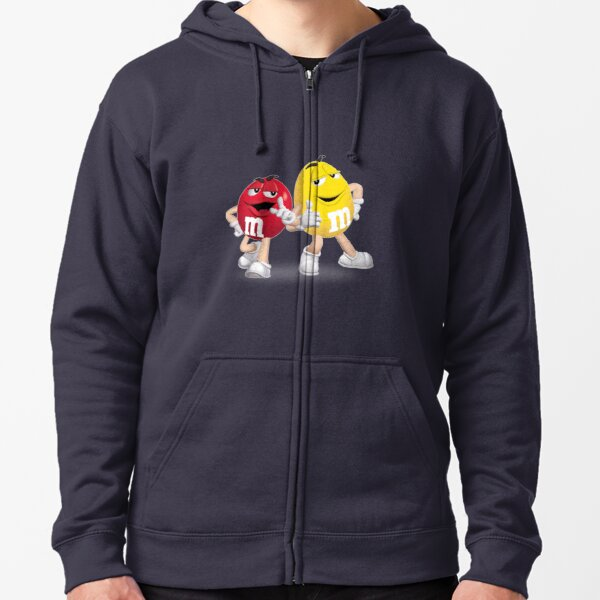 m&m's red and yellow Zipped Hoodie