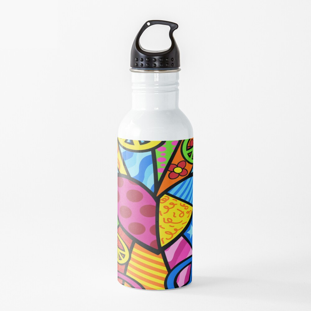 Multicolored Peace Sign Merchandise Water Bottle