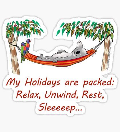 Hammock Sleeping Koala - My Holidays are packed Sticker