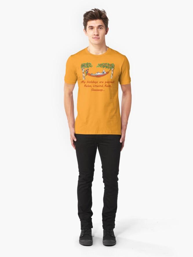 Alternate view of Hammock Sleeping Koala - My Holidays are packed Slim Fit T-Shirt