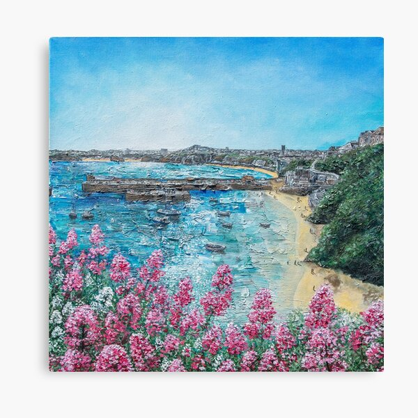 Newquay Harbour, North Cornwall Art Canvas Print