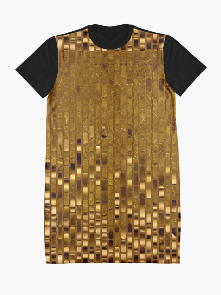 Alternate view of Gold Sequins   Gold Metallic Texture   70s Disco Inspired  Graphic T-Shirt Dress