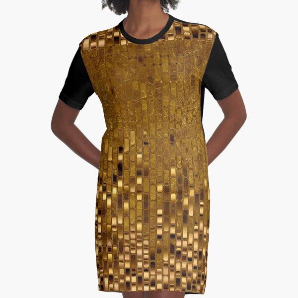 Gold Sequins | Gold Metallic Texture | 70s Disco Inspired  Graphic T-Shirt Dress