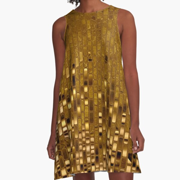 Sequins | Gold Metallic Texture | 70s Disco Inspired  A-Line Dress