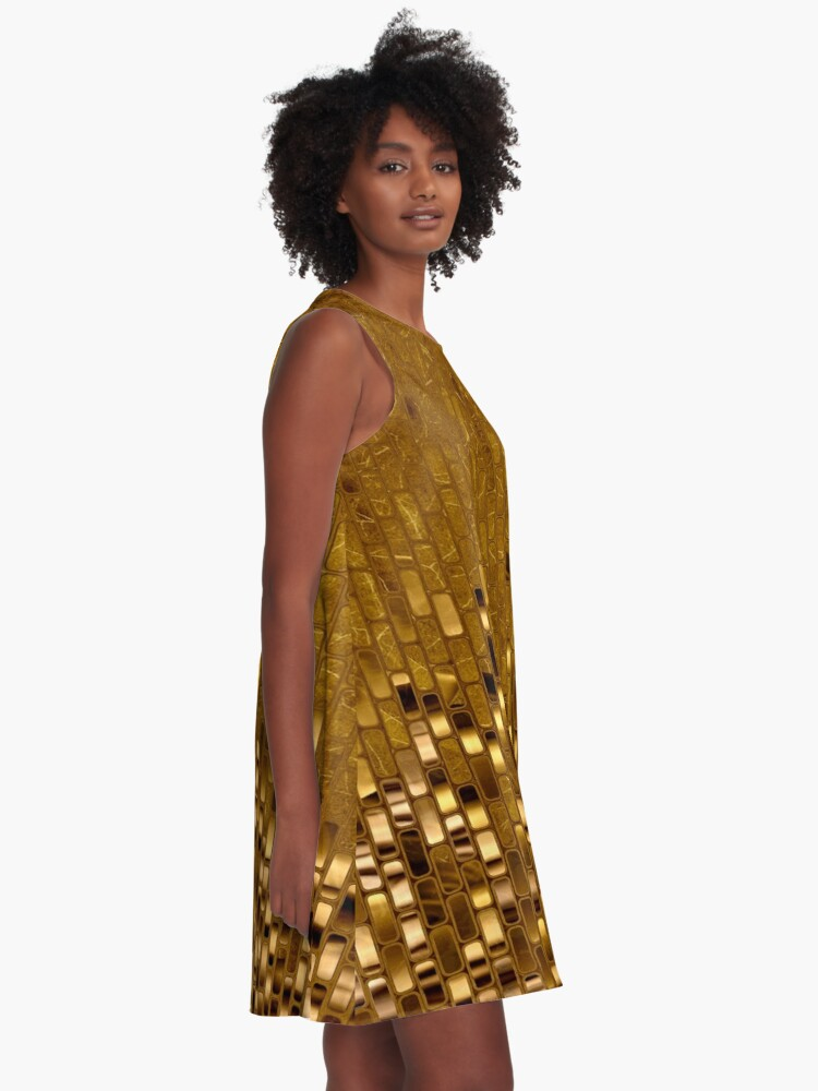 Alternate view of Gold Sequins | Gold Metallic Texture | 70s Disco Inspired  A-Line Dress