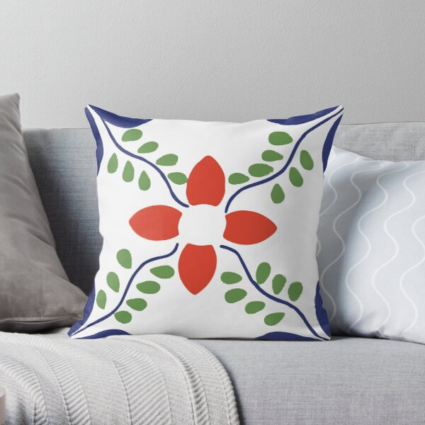 Talavera Red Flower Throw Pillow
