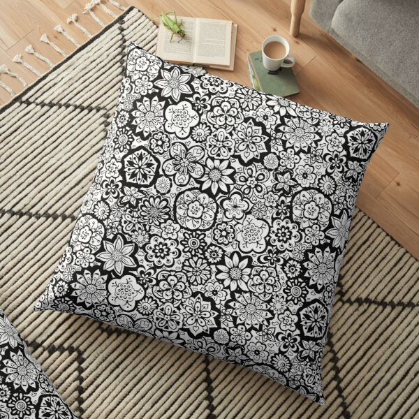 Beautiful Bouquet of Midsummer Blooms in black and white Floor Pillow