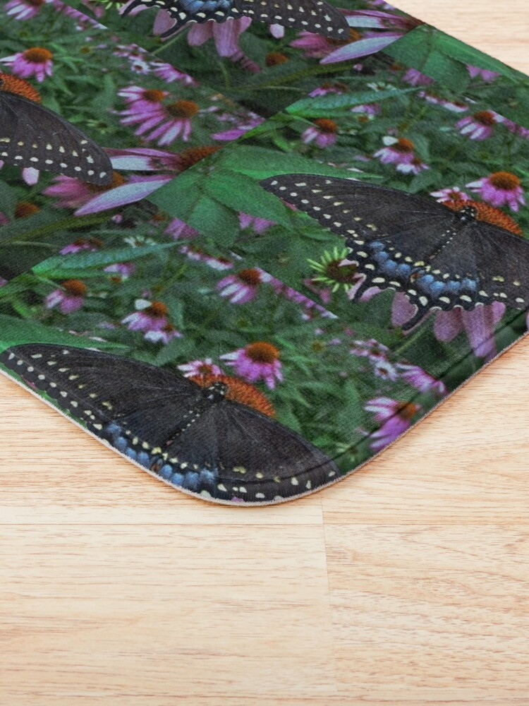 Alternate view of Black Swallowtail Butterfly  before flying in search of sun By Yannis Lobaina Bath Mat