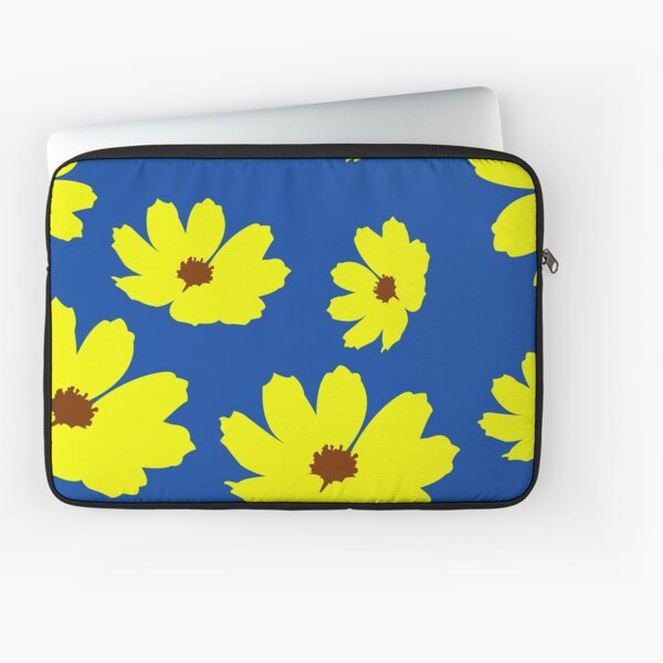Sulfur Yellow Cosmos Flower Pattern in Blue Background Laptop Sleeve