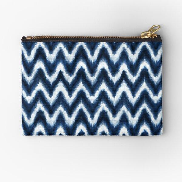 Shibori Chevron hand-dyed indigo blue white Zipper Pouch