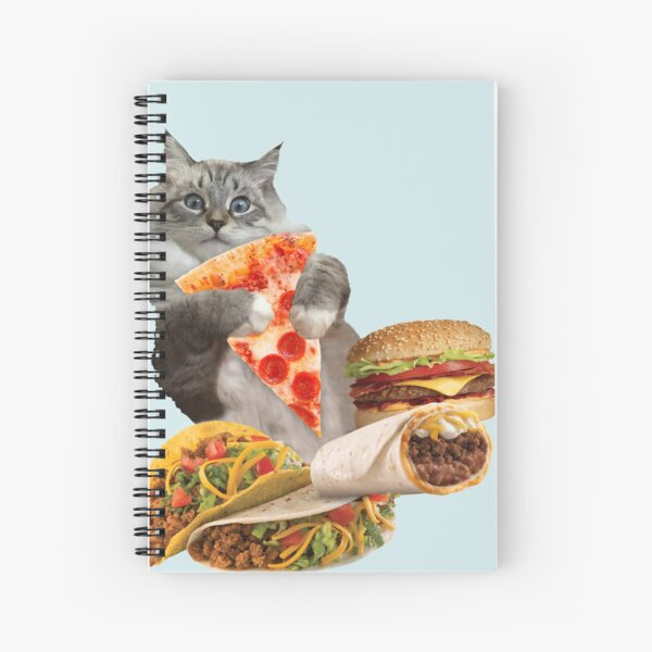 Cheeseburger Taco Pizza Cat Spiral Notebook