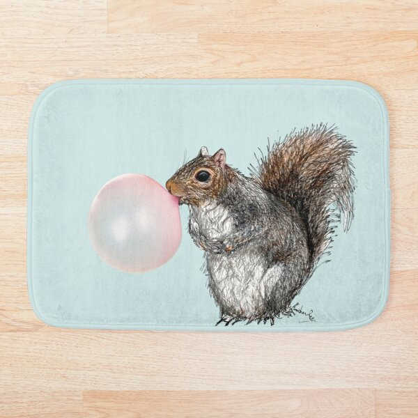 Bubblegum Squirrel  Bath Mat