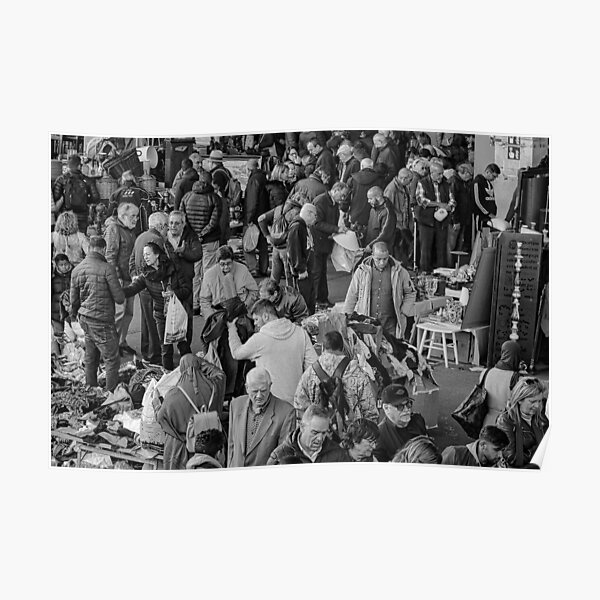 A crowded market with people Poster