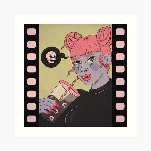 SAD SKULL SODA GIRL Art Print