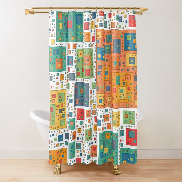 2000 Packed Squares - White Shower Curtain