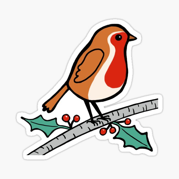 Red robin, holly and berries Sticker