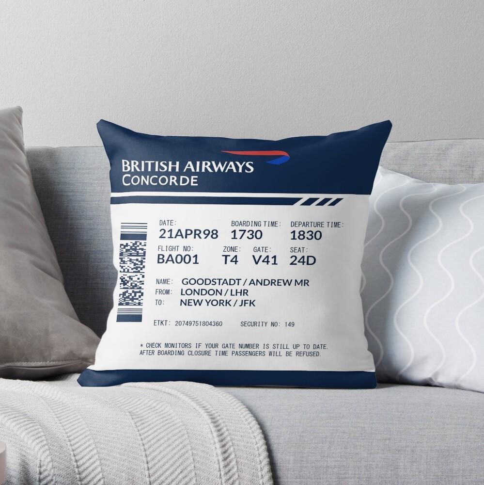 Boarding Pass Pillow BAC Throw Pillow
