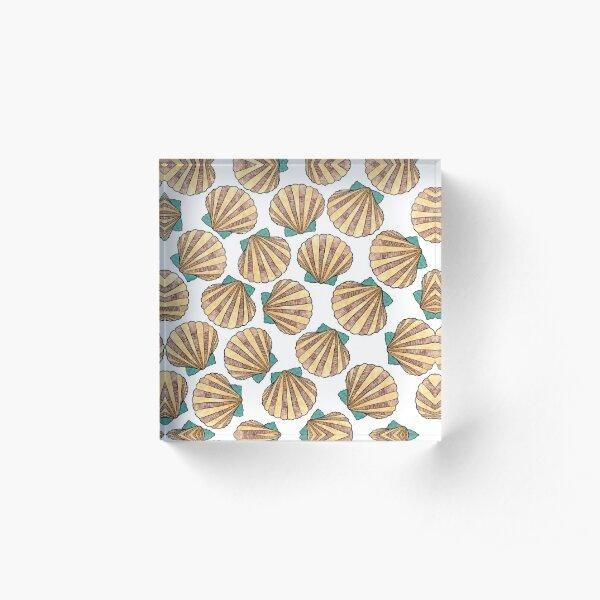 Ocean and Sea shells scallops Acrylic Block