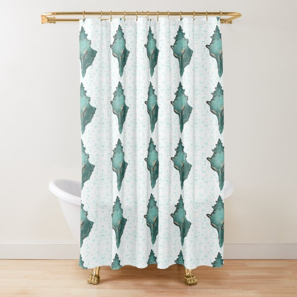 Ocean and Sea shells horse conch Shower Curtain