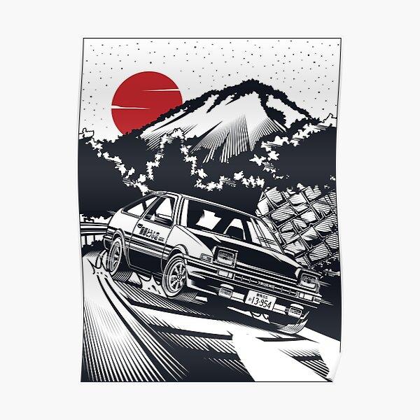 Attaque initiale en descente D Takumi Fujiwara Hachiroku! AE86 Trueno [Édition monochrome] Poster