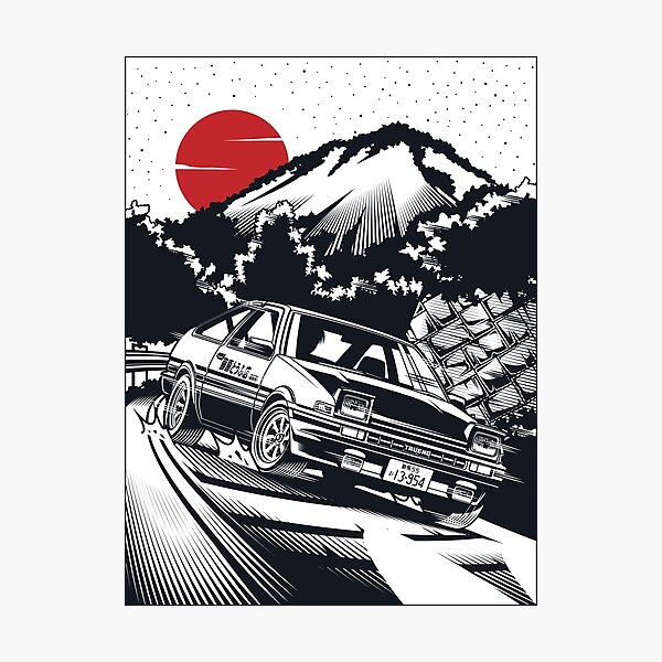 Initial D Takumi Fujiwara Hachiroku Downhill Attack! AE86 Trueno [Monochrome Edition] Photographic Print