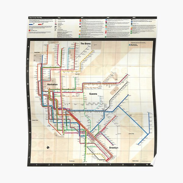 1972 Vignelli NYC Subway Map Poster