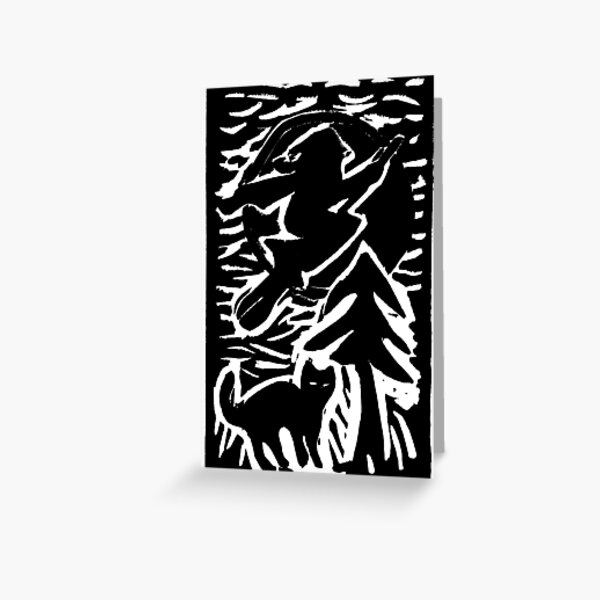 Hexe mit Katze Grußkarte