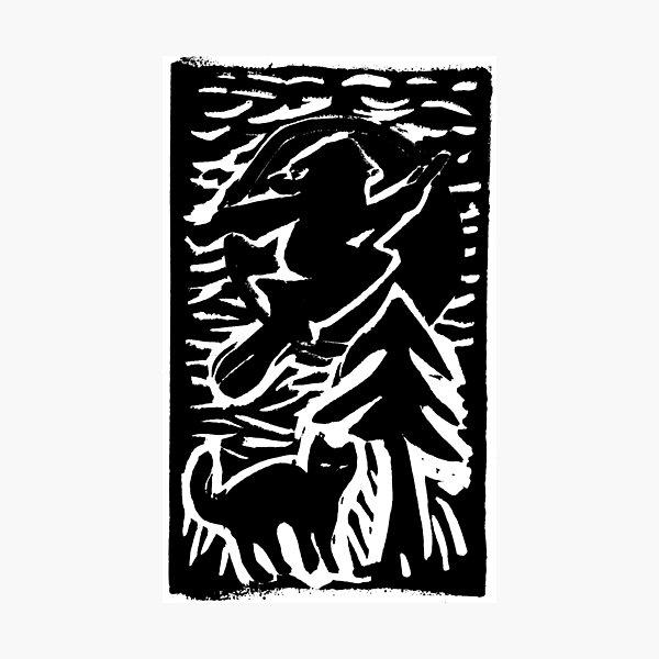 Hexe mit Katze Fotodruck