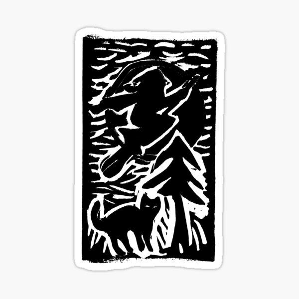 Hexe mit Katze Sticker