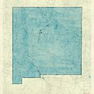 New Mexico State Map Blue Vintage by HubertRoguski