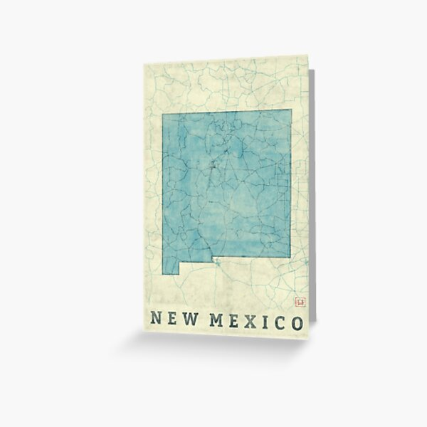 New Mexico State Map Blue Vintage Greeting Card