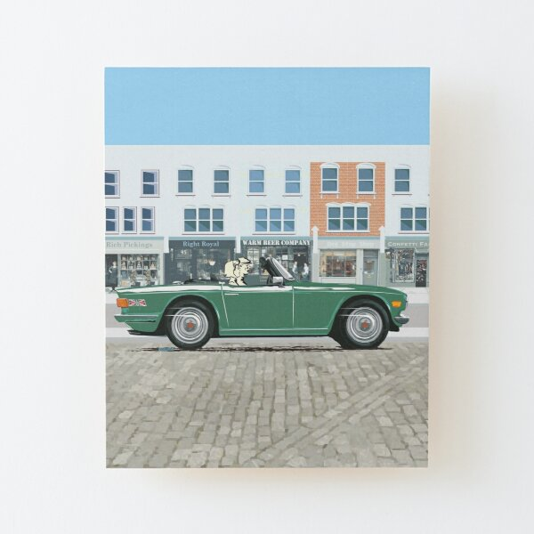 Conifer Green color TR6 – the Classic British Sports Car Wood Mounted Print