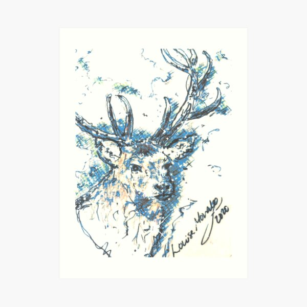 Handsome Hunting Stag in the blues... Art Print