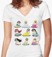 Pug Princesses Version 2 Women's Fitted V-Neck T-Shirt