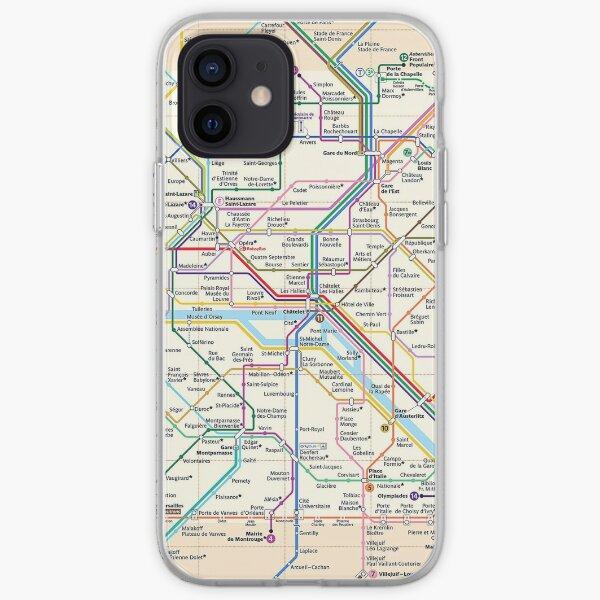Paris City Metro Map, France iPhone Soft Case