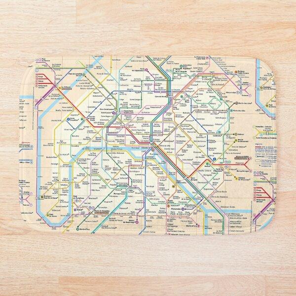 Paris City Metro Map, France Bath Mat