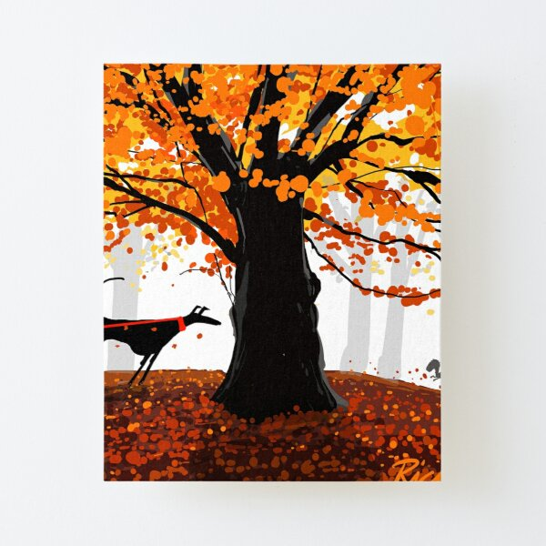 The Autumn Oak, The Hound, and The Squirrel Canvas Mounted Print