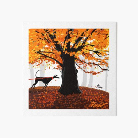 The Autumn Oak, The Hound, and The Squirrel Art Board Print