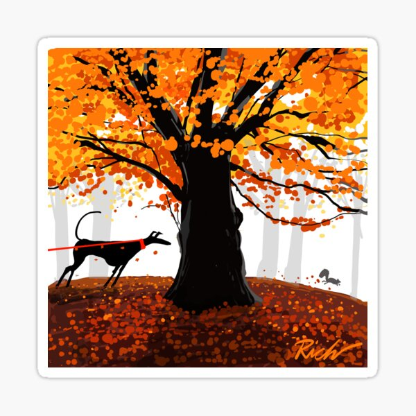 The Autumn Oak, The Hound, and The Squirrel Sticker