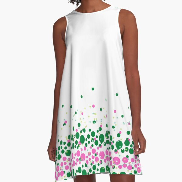 Green and Pink Dotted Design A-Line Dress