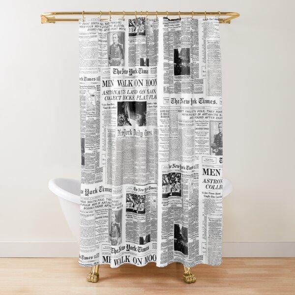 Impresión de periódico [blanco] Cortina de ducha