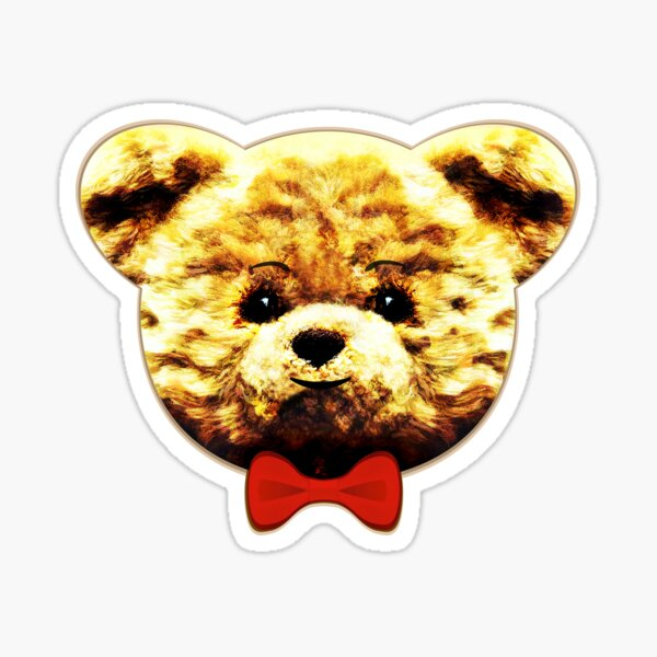 Cute happy teddy bear with Christmas red bow-tie Sticker