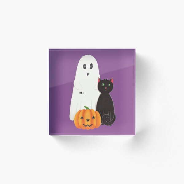 Cute Ghost, Pumpkin and Black Cat Trio Acrylic Block