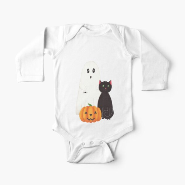 Cute Ghost, Pumpkin and Black Cat Trio Long Sleeve Baby One-Piece
