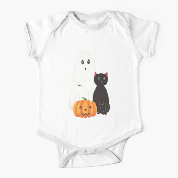Cute Ghost, Pumpkin and Black Cat Trio Short Sleeve Baby One-Piece