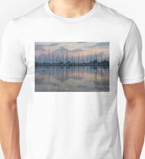 Pink, White and Blue Silky Mirror - Boat Reflections and a Grebe Unisex T-Shirt